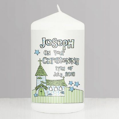 Personalised Blue Whimsical Church Candle