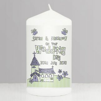 Personalised Whimsical Church Wedding Candle