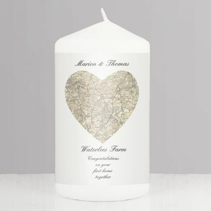 Personalised 1896 to 1904 Revised New Heart Map UK Postcode Candle