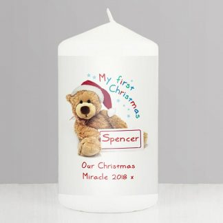 Personalised Teddy 1st Christmas Candle