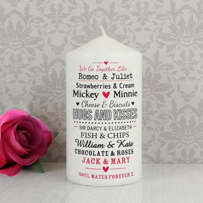 Personalised We Go Together Like... Couples Candle