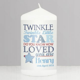 Personalised Blue Twinkle Twinkle Candle