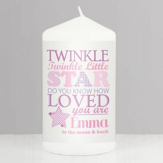 Personalised Pink Twinkle Twinkle Candle