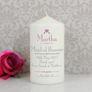 Personalised Decorative Wedding Hearts Candle