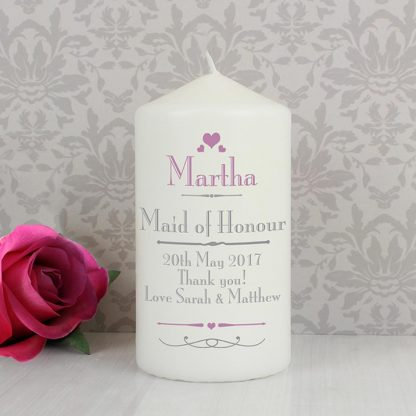 Personalised Decorative Wedding Hearts Candle