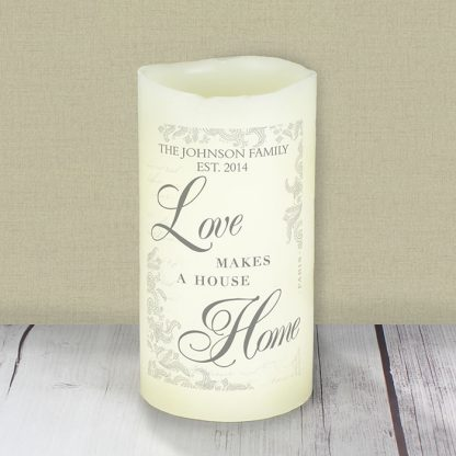 Personalised Love Makes A Home LED Flameless Candle