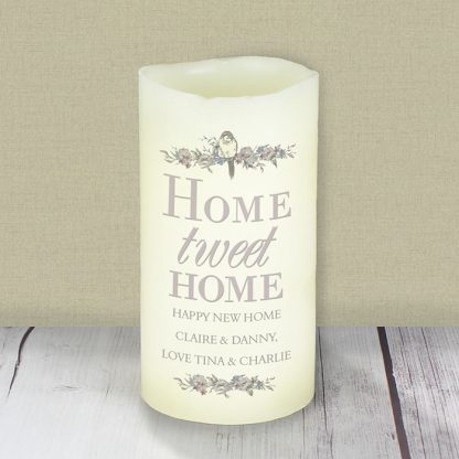 Personalised Home Tweet Home LED Flameless Candle