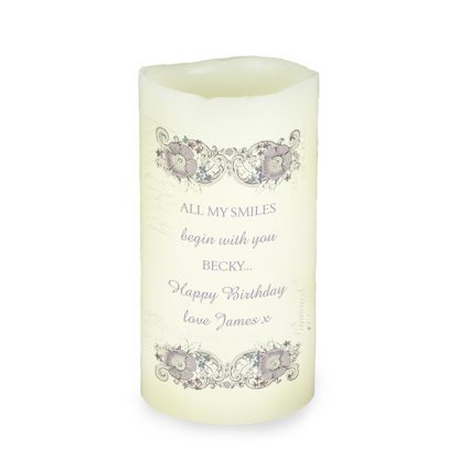Personalised Floral Spiral LED Flameless Candle