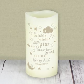 Personalised Twinkle Twinkle LED Flameless Candle