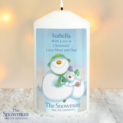 Personalised The Snowman & The Snowdog Candle