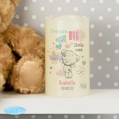 Personalised Tiny Tatty Teddy Dream Big Pink Nightlight LED Candle
