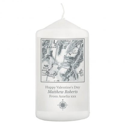 Personalised 1805 - 1874 Old Series Map Compass Pillar Candle