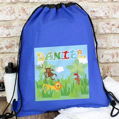 Personalised Blue Animal Alphabet Swim Bag