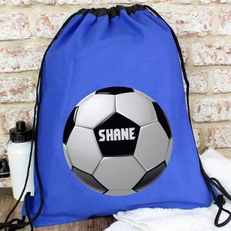Personalised Blue Football Swim Bag