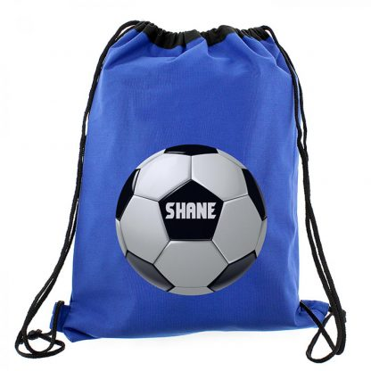 Personalised Blue Football Swim & Kit Bag