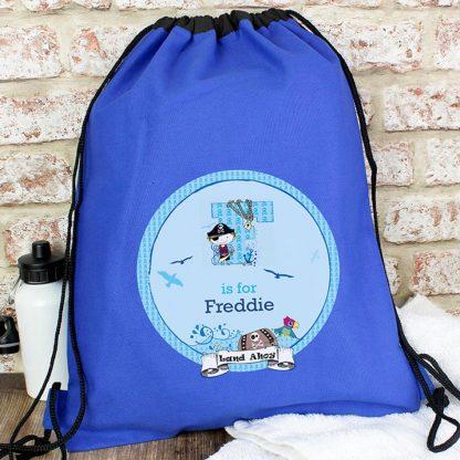 Personalised Blue Pirate Swim Bag