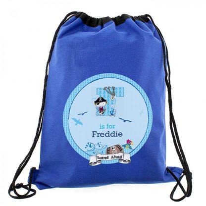 Personalised Blue Pirate Swim & Kit Bag