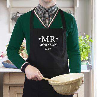 Personalised Black Mr Apron