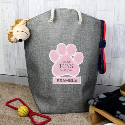 Personalised Pink Paw Print Storage Bag
