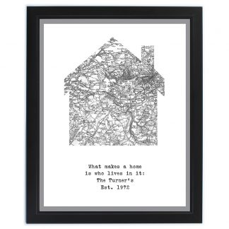 Personalised UK Postcode Map Poster Frame