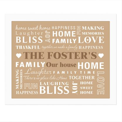Personalised Family Typogrophy Poster Frame
