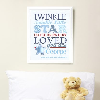 Personalised Twinkle Twinkle Boys Poster White Frame