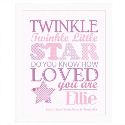 Personalised Twinkle Twinkle Girls Poster White Frame