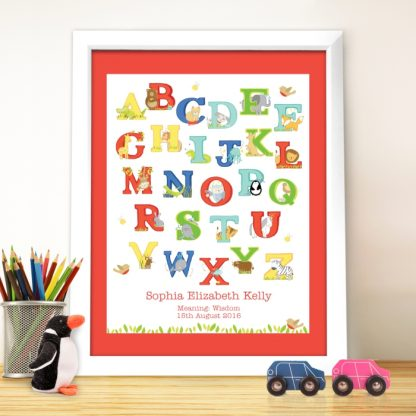 Personalised Animal Alphabet White Poster Frame