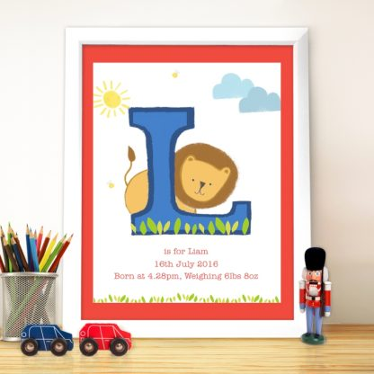 Personalised Animal Initial White Poster Frame