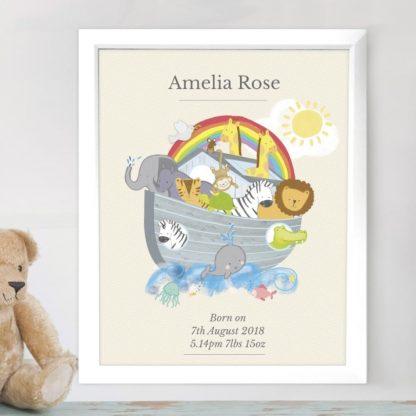 Personalised Noah's Ark White Framed Poster Print