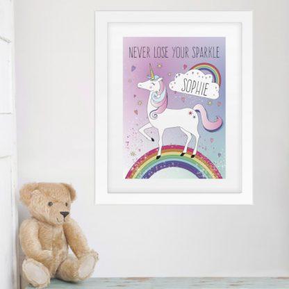 Personalised Unicorn Poster Frame