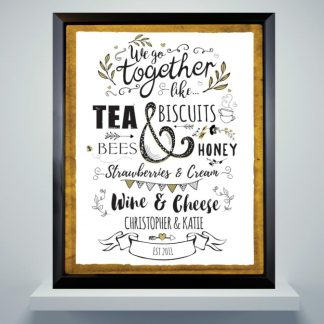 Personalised We Go Together Like... Black Poster Frame