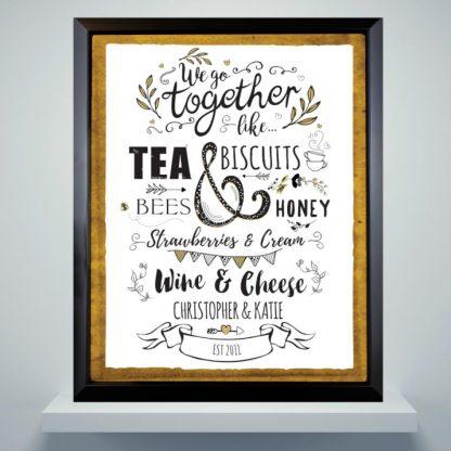 Personalised We Go Together Like... Black Poster Frame
