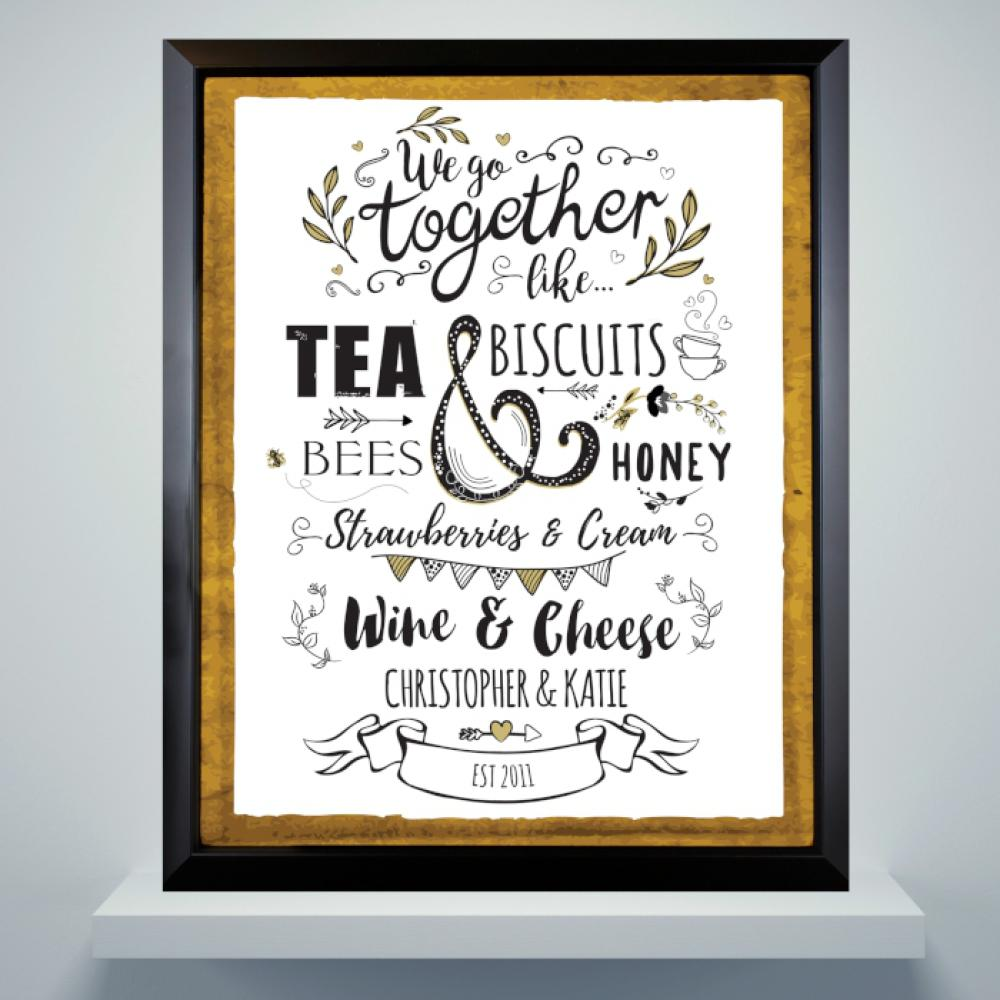 1313c958009 Personalised We Go Together Like... Black Poster Frame - Just The ...