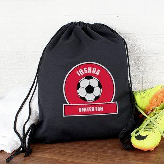 Personalised Red Football Fan Swim Bag
