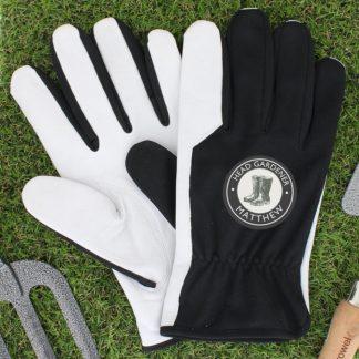 Personalised Head Gardener Large Black Gardening Gloves
