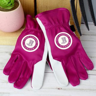 Personalised Head Gardener Medium Fuchsia Gardening Gloves