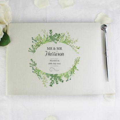 Personalised Fresh Botanical Guest Book & Pen