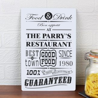 Personalised Food & Drink Restaurant Metal Sign