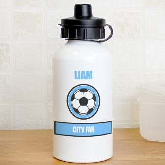 Personalised Sky Blue Football Fan Drinks Bottle