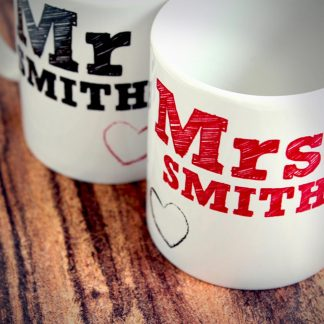 Personalised Mr & Mrs Mugs Set