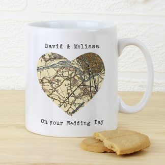 Personalised Heart Postcode Map Mug