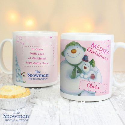 Personalised The Snowman & The Snowdog Pink Mug