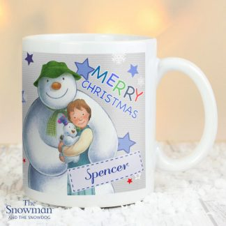 Personalised The Snowman & The Snowdog Blue Mug
