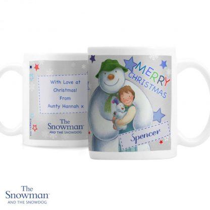 Personalised The Snowman & The Snowdog Blue Mug
