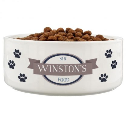 Personalised Blue Paws 16cm Large White Pet Bowl