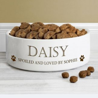 Personalised Paws 14cm Ceramic White Pet Bowl