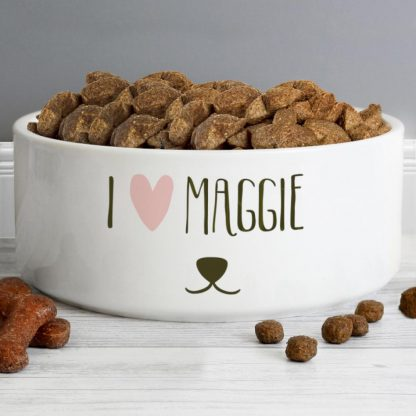 Personalised Dog Features 16cm Ceramic White Pet Bowl