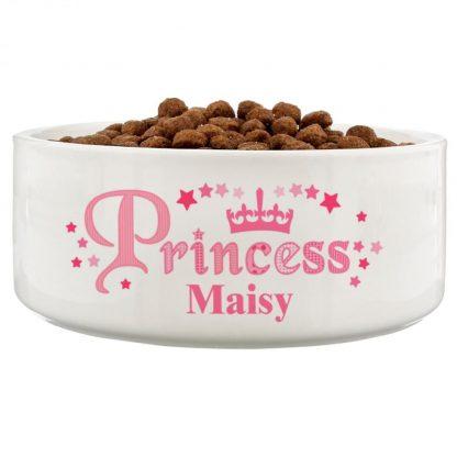 Personalised Princess 16cm Ceramic White Pet Bowl