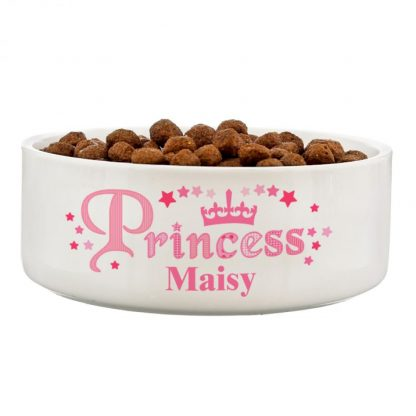 Personalised Princess 14cm Ceramic White Pet Bowl